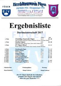 Ergebnisliste Dorfmeisterschaft 2017